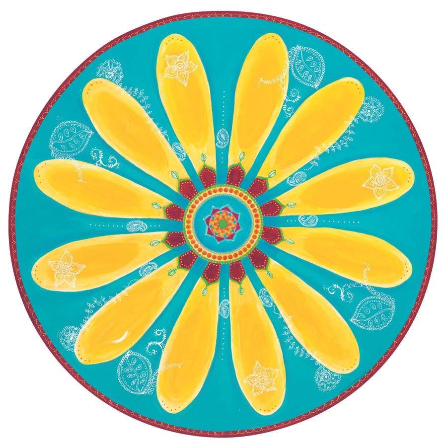 "Image of ""Be happy""- Yellow Mehndi Daisy Meditation Mat"