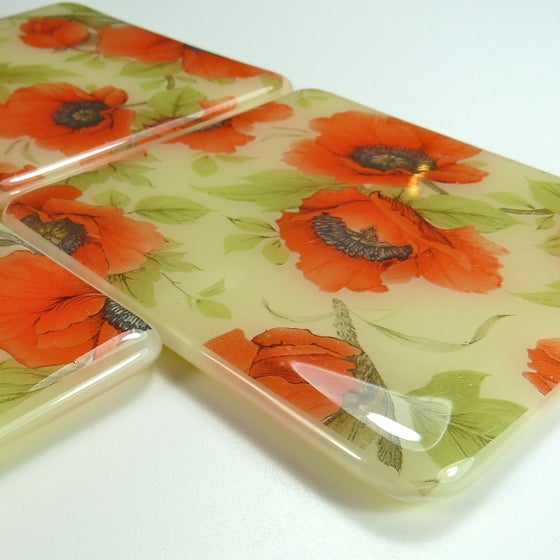 Image of Set of 4 Poppy Coasters