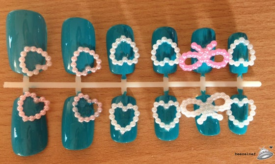 Image of Kawaii Hearts and Bows - blue false nail set