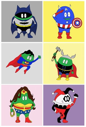 Image of Super Peas: Button set of 6