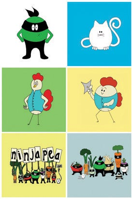 Image of Ninja Pea: Button set of 6