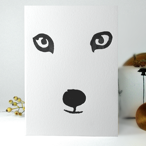 Image of Snow Fox - Letterpress card