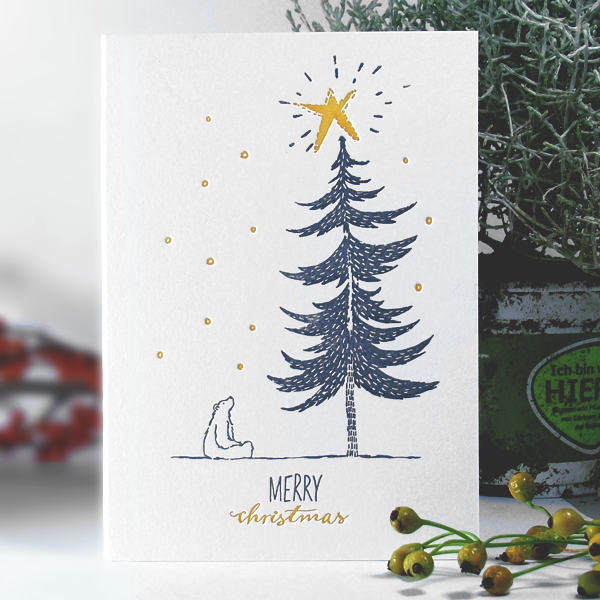 Image of SNOWY POLAR BEAR - Letterpress Christmas Card