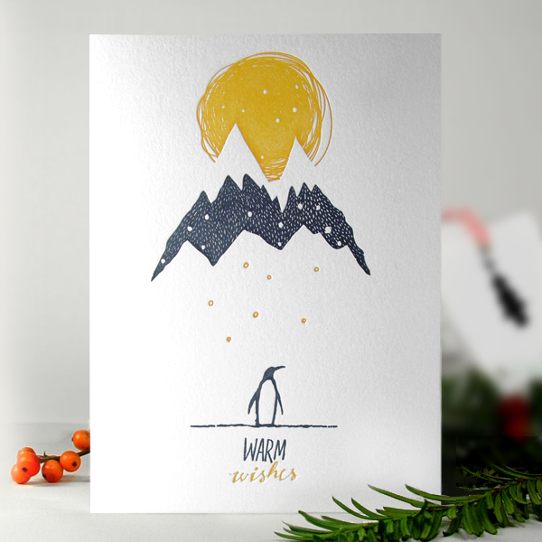 Image of Snowy Penguin -  Letterpress Christmas Card