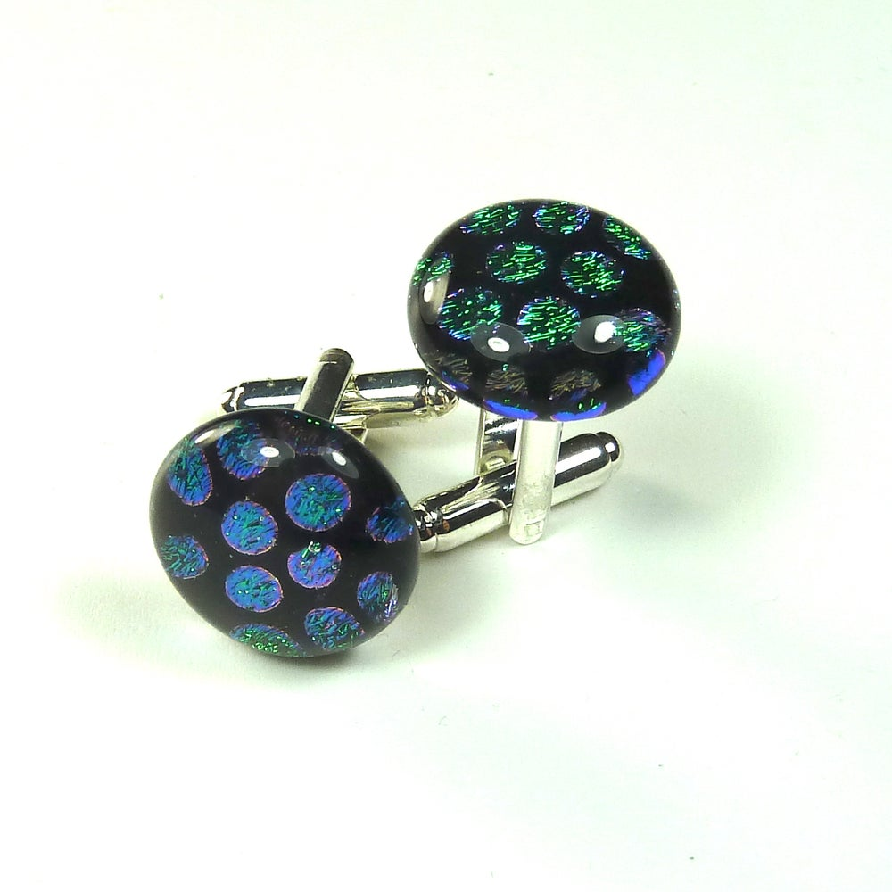 Image of Green Dichroic Glass Cuff links