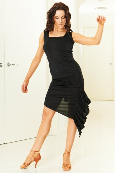Image of Asymmetrical Ruffle Skirt - Black J3307