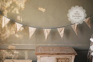 Image of Natural Linen & Ribbon Flag Banner - Garland - Vintage Inspired - $13 OFF!