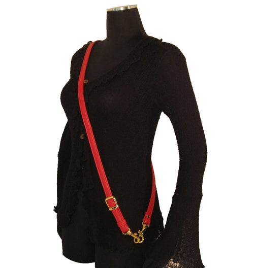 "Image of Adjustable Crossbody Bag Strap - Choose Leather - 55"" Max Length, 3/4"" Wide, Gold-tone Small O-Rings"