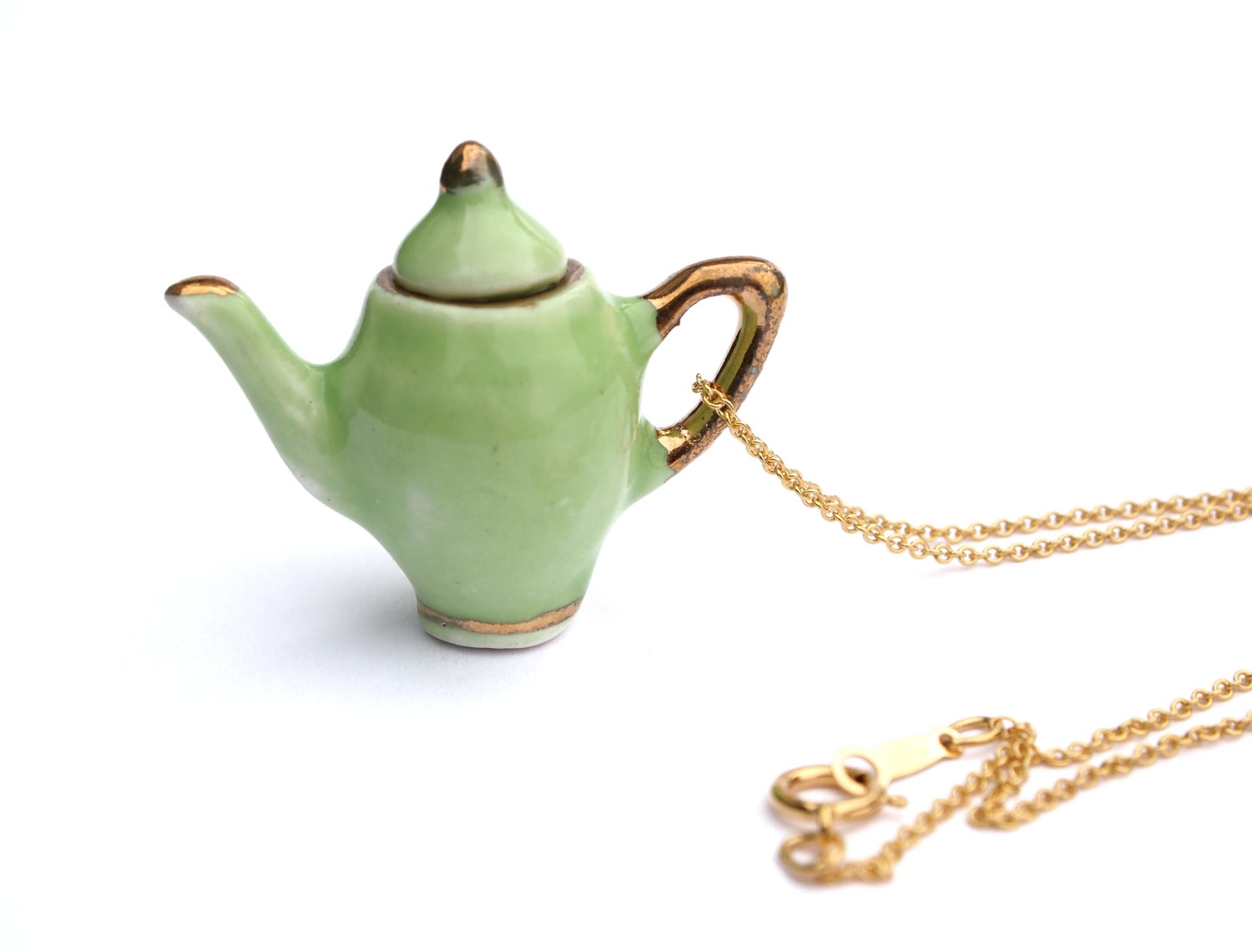 Image of green and gold teapot necklace