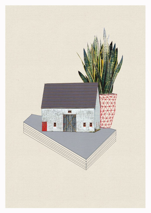 "Image of Original hand threaded artwork: ""Home and plant/Red door"""