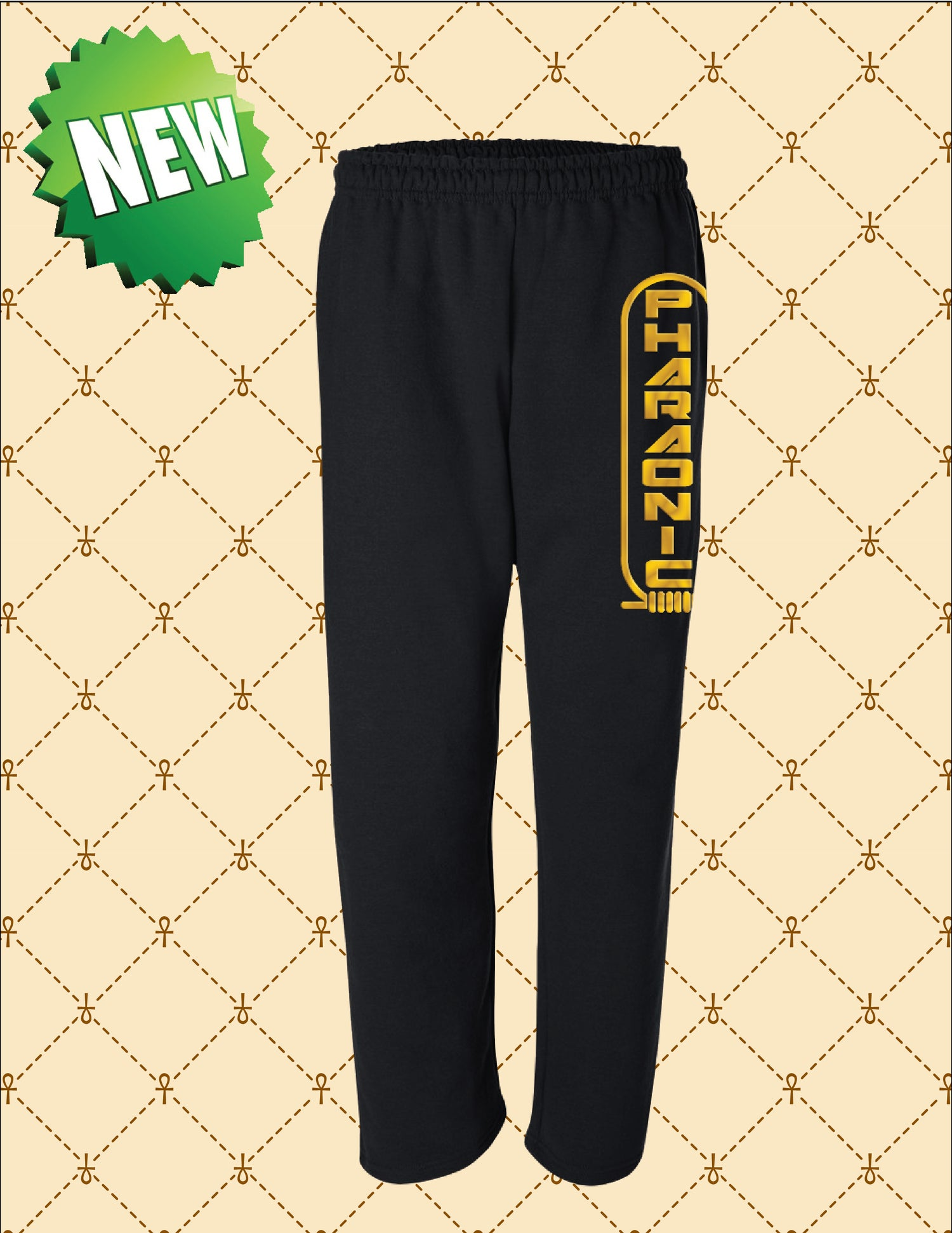 Image of MEN'S/WOMEN'S GOLD PHARAONIC LOGO SWEAT PANTS