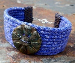 Image of SALE! Purple Rhapsody, handmade kumihimo cuff with raku button