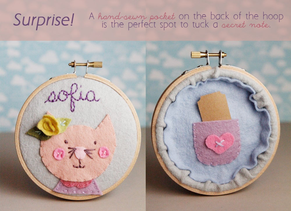 Kids Personalized Name Sign Felt Cat Portrait with Hand ...