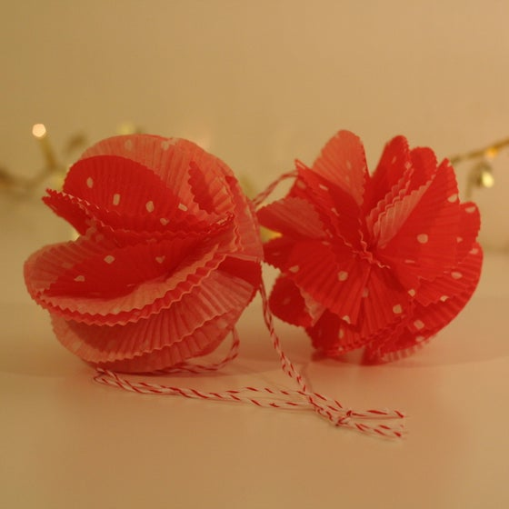 "Image of Red ""Chiffon"" Paper Baubles (SALE 30%)"