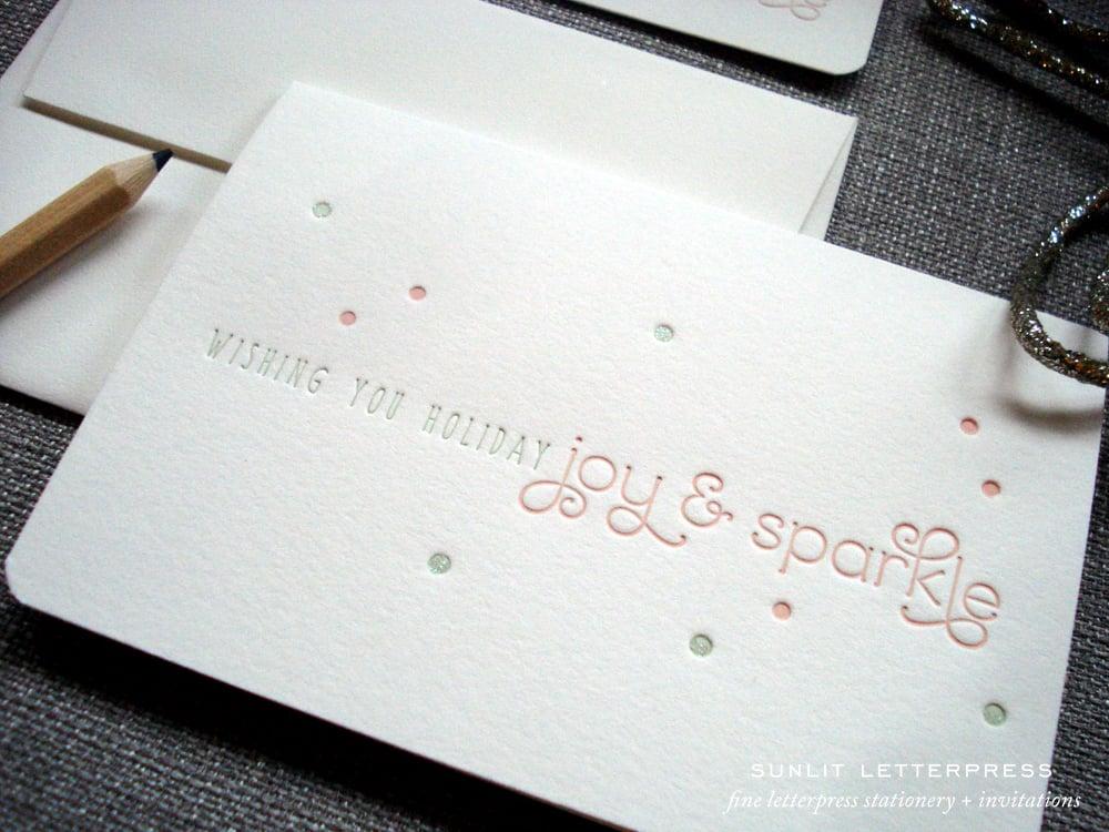 Holiday 2013 Greeting Cards | Joy + Sparkle / Sunlit Letterpress ...