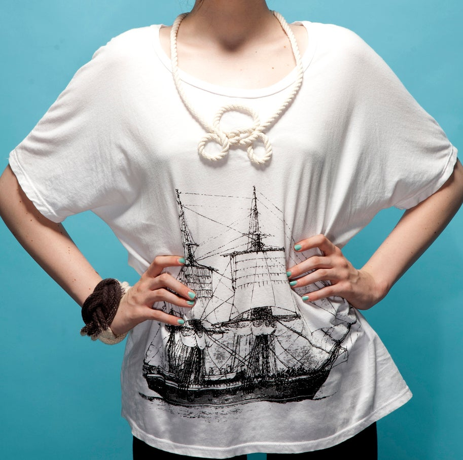 """Image of """"HMS Beagle"""" Oversize Dolman with Attached Necklace"""
