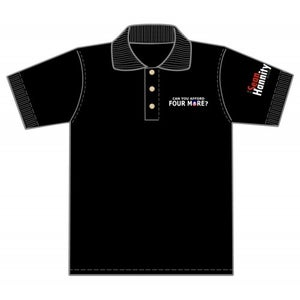 "Image of ""Can You Afford Four More?"" Polo shirts (4MorePoloWH/Red/Bk)"