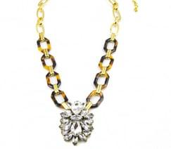 Image of Tortoise & Crystal Pendant Necklace