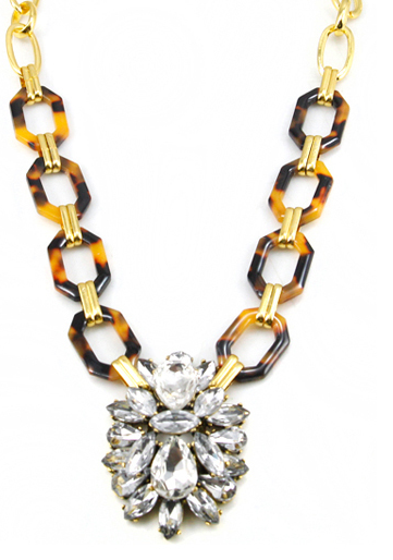 Image of Tortoise & Crystal Pendant Necklace
