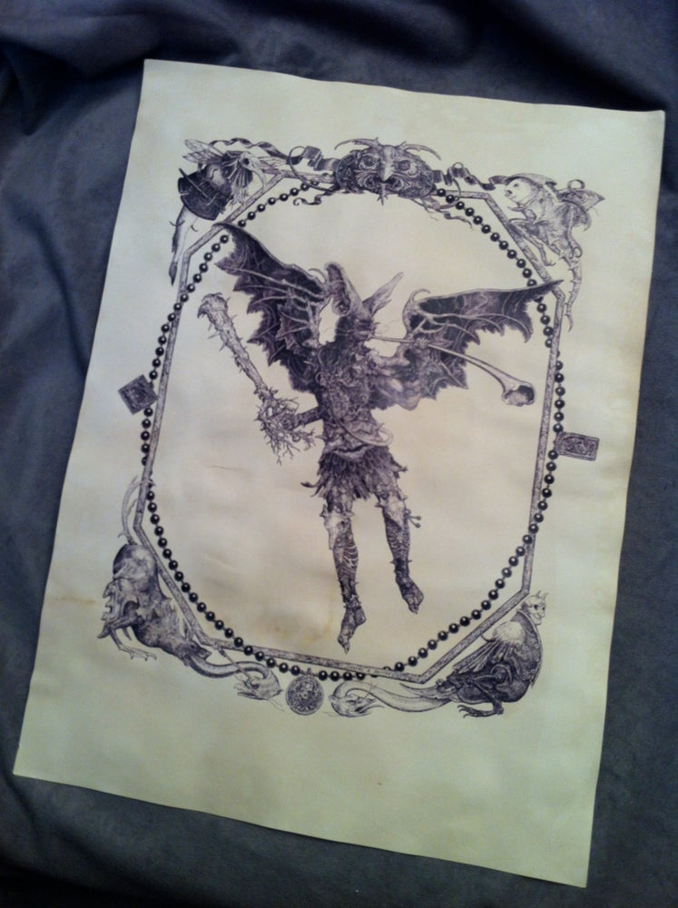 Image of Sounding the Horn-tea stained print