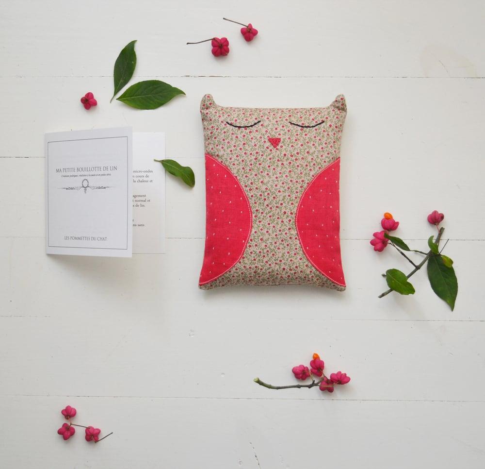 Image of Bouillotte chouette en graines de lin