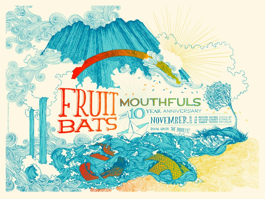 fruit bats mouthfuls 10 year anniversary poster frida clements