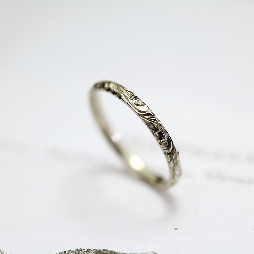 Image of 18ct white gold 2mm floral engraved ring