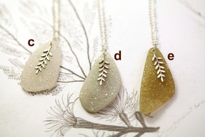 Image of fern leaf & druse quartz necklace, 9ct white gold plate