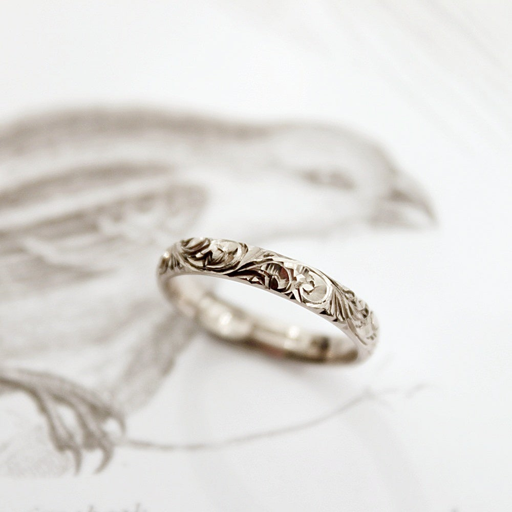 Image of 18ct white gold 3mm floral engraved ring