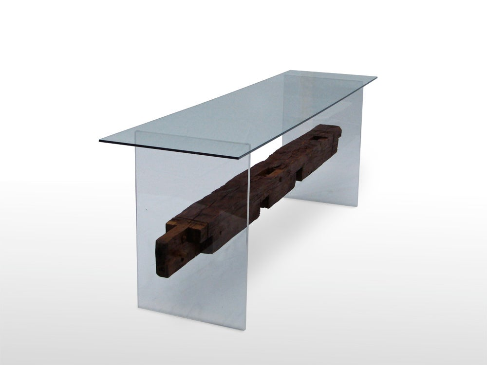 Image of Hand Hewn Timber Console Table