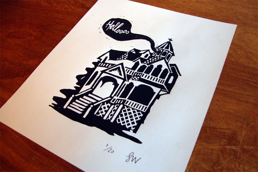 Image of Haunted House Linoprint