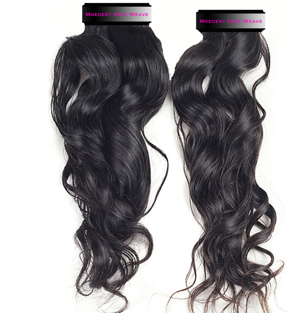 100% Pure Virgin Remy Natural Wave Human Hair   Modest Hair Weave 283310c950f1