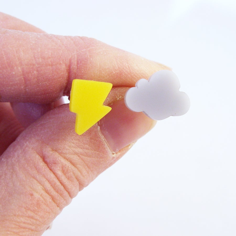 Image of Cloud & Lightning Bolt Earrings