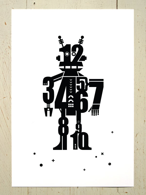 Image of Numbot (robot) art print - Black