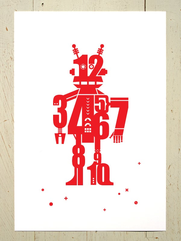 Image of Numbot (robot) art print - Red