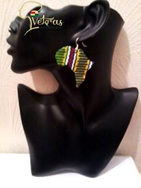 Image of Vekras MultiColoured Green Africa Shaped Earrings