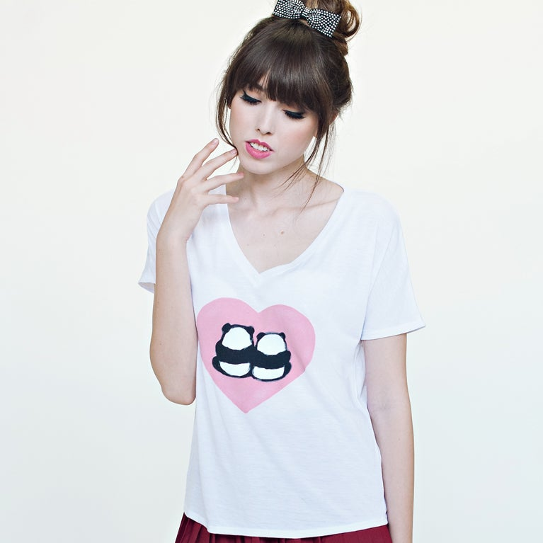 "Image of ""Panda Bums in Love"" V-Neck Tee"