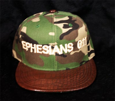 Image of EPHESIANS 6:11 CAMO SNAPBACK WITH BROWN ALLIGATOR BRIM
