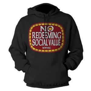 "Image of NO REDEEMING SOCIAL VALUE ""Olde E"" Logo Hoodie"