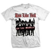 "Image of RUN LIKE HELL ""New York Streetrock"" White T-Shirt"
