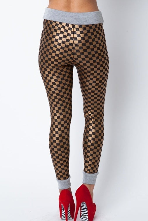 Image of Black/Gold Checkerboard Pants