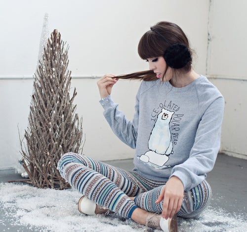 "Image of ""Ice-olated Polar Bear"" Crew Neck Sweater"