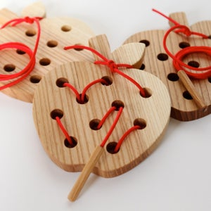 Image of Wormy Apple!™ Wooden Lacing and Threading Toy™