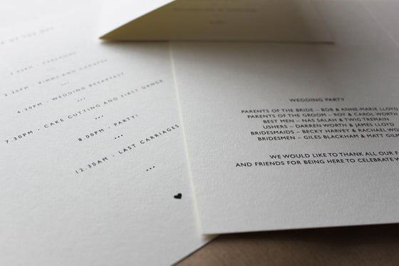 Image of Wedding Stationery // Orders of Service, Menus, Information Cards
