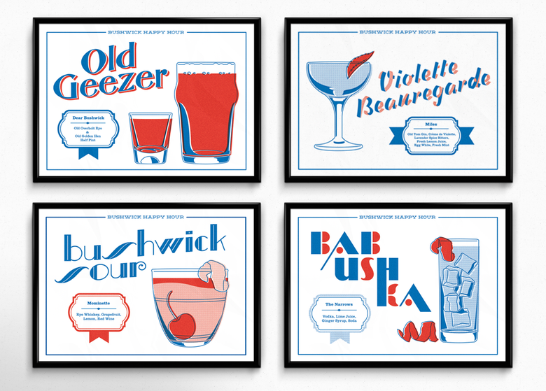 Image of Bushwick Happy Hour Prints, Set of Four