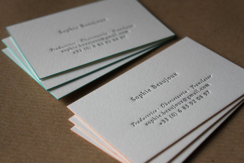 Letterpress business cards and wedding invitations maple tea image of letterpress business cards on natural white cotton stock made to order colourmoves