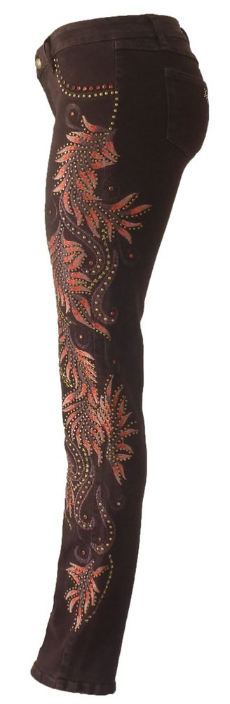Image of Studded Feather Jeans 13W131P