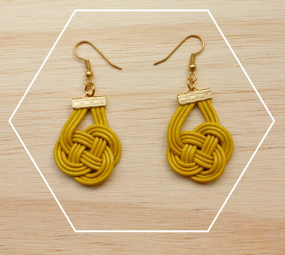 Image of Leather cord knotted earrings
