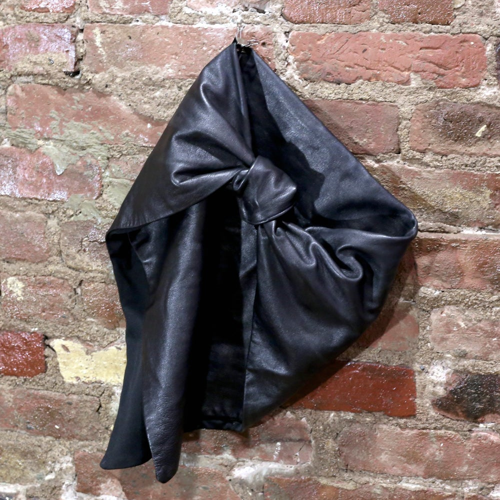 Image of Black Lambskin Leather Knot Scarf