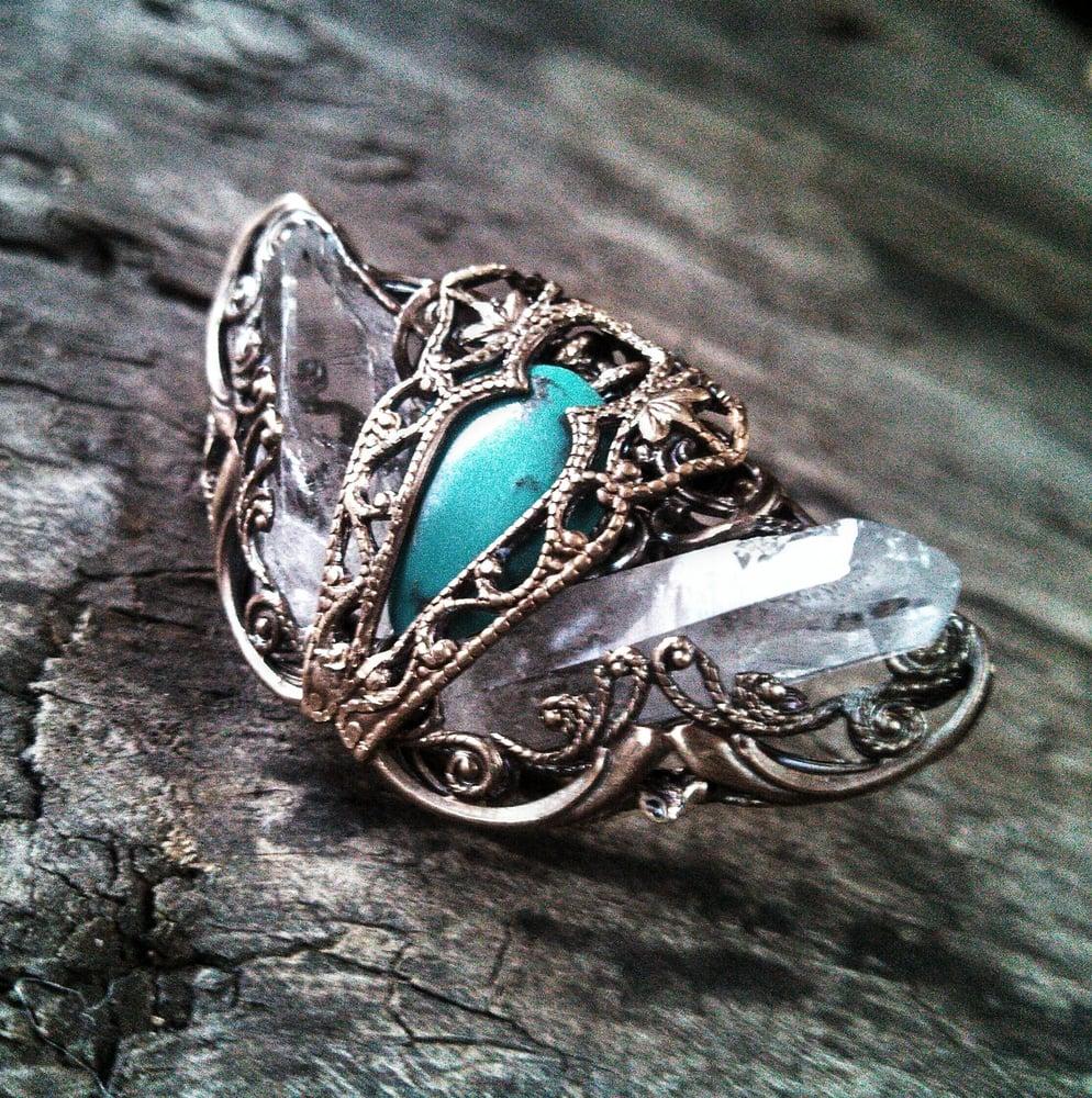 Image of Rock Crystal Turquoise Metamorphosis Ring